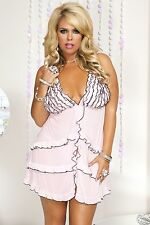 XL Pink Soft Mesh Black Edged Ruffle Babydoll + G-String Sexy Lingerie P56060 Q