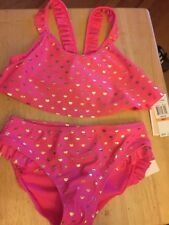 Juicy Couture Girls Swim Suit Bikini Bathing Suit Size 7 pink gold hearts
