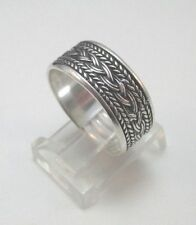 STERLING SILVER ROPE BRAIDED RING BAND W/ HALLMARK SIZE 7.25 ****