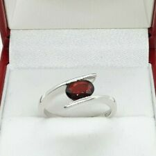 9ct White Gold Garnet Solitaire Ring