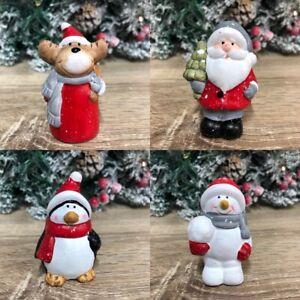 7cm Ceramic Christmas Cake Topper Ornament ~  Penguin Santa Snowman Reindeer 893