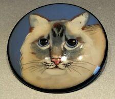 Adorable  Vintage Cat Face  Lacquerware Button Artist Signed , large 1 7/8