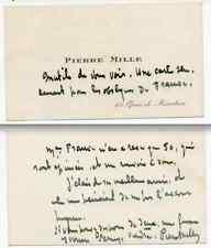 autographe de Pierre Mille.Ecrit et signé sur sa carte de visite.Ecrivain