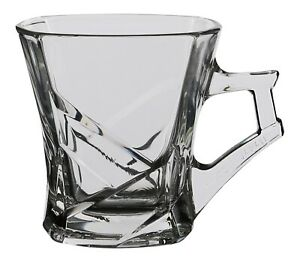 Silica Crystal Set of 6 Tea Glasses with Handles. Glass Square Tea Mugs Gift Box