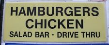 "Vtg Hamburgers Chicken Salad Bar Drive Thru Polycarbonate Diner Sign 36 X 89"""