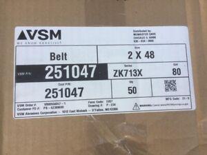 "(Case of 50) VSM 251047 2"" x 48"" Abrasive Belt 80 Grit (NEW)"