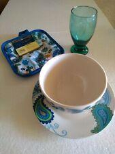 Paisley Blue Ceramic Cereal Bowl Plate Goblet Drinking Glass Pot Holder Set