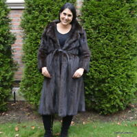 Mink Fur Coat Stroller Authentic Genuine Natural Dark Brown Size Medium 8-10