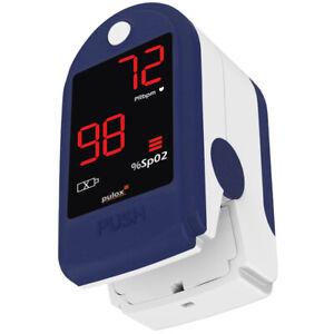 Kompaktes Finger-Pulsoximeter PULOX PO-100 blau Set mit Aufbewahrungsbox