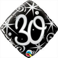 "FOIL BALLOON 18""(45CM) 30th Birthday Elegant Sparkles & Swirls BIRTHDAY PARTY..."