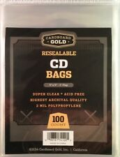 Pack of 100 CBG Resealable CD Jewel Case Acid Free 2-Mil Clear Poly Bags