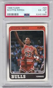 HT: 1988 Fleer Basketball Card #20 Scottie Pippen Rookie Chicago Bulls  - PSA 6
