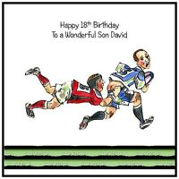 Mens Boys Handmade Personalised Birthday Card Rugby Sport Funny Match Ball Funny