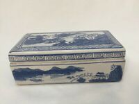 """Vintage Chinese Blue Ceramic Box w/Divided Interior, Marked, 7 1/2"""" x 3 3/4"""""""