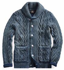 RRL Ralph Lauren Indigo Aran Cable Knit Cotton Cardigan-MEN- M