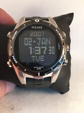 PULSAR WORLD TIME CHRONOGRAPH 5 DAILY ALARMS DAY & DATE MEN'S WATCH PQ2003 Hd