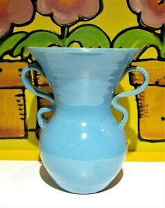 J.B. Cole Pottery Candy Ribbon Handle Vase Smithfield/Mitchfield Graves NC Blue