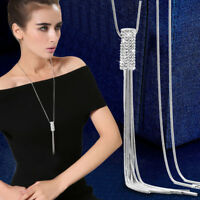 Women Full Cubic Zircon Cylinder Pendant Long Chain Tassel Sweater Necklace