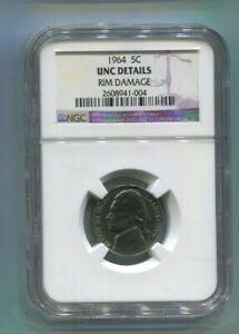 1964 US Jefferson Nickel - NGC UNC Details - Rim Damage