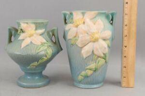 2 Antique ROSEVILLE American Art Pottery Blue Clematis Flower Vases No Reserve