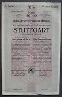 Stuttgart 8% for a Loan of 50000 Mark 1923 unentwertet + Kuponbogen