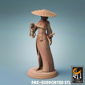 Female Samurai Explorer Miniature D&D DnD Pathfinder RPG