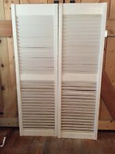 Vintage pair White Louvered louver wood wooden shutter window Doors Pair