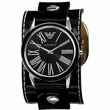 NEW-EMPORIO ARMANI SHINY BLACK CUFF BAND,BLACK DIAL WITH ROMAN #'S WATCH AR5793