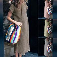 ZANZEA Womens Summer Short Sleeve Midi Dress Ladies Casual Split Dresses Kaftan