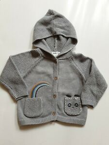 NEXT BABY 6-9 MONTHS GREY CARDIGAN RAINBOW BEAR KNIT COSY WARM EXCELLENT