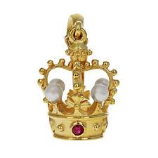 Ruby & Pearl Crown Pendant Charm, 18 Karat Matte Yellow Gold