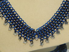 Steel Stars, Starry Night Necklace Hand-Made Aluminium Chain Maille & Stainless