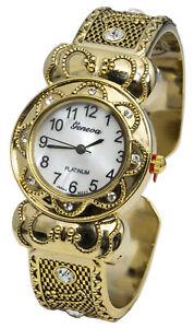 Blekon Collections Qrtz Womens 29mm Case Rhinestone Multi-Patterned Bangle Watch