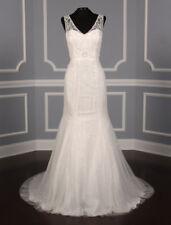 Pronovias Olsen Beaded Tulle Wedding Dress Off White Sleeveless Fit Flare 10