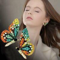 Womens Wedding Bridal Buterfly Crystal Drop Dangle Earrings Ear Stud Jewellery