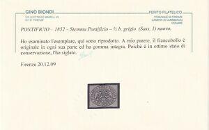 1/2 b. GRIGIO SASS 1 MNH** OTTIMI MARGINI FRESCO CERTIFICATO BIONDI RARO !!