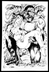 SAVAGE ROGUE X-MEN 11X17 ART MARCIO ABREU PENCIL & ANDY OWENS INK SKETCH MARVEL