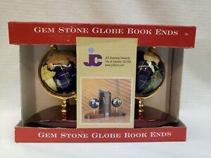 JCF Gem Stone Globe Bookends Blue Lipas Semiprecious Gemstone Country Images