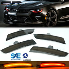 WICKED 16-18 Chevy Camaro LED Optic Style Side Markers Lights Smoke Front & Rear
