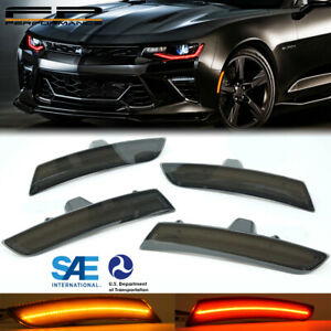 WICKED 16-21 Chevy Camaro LED Optic Style Side Markers Lights Smoke Front & Rear