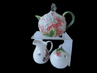 Edie Rose Home Hydrangea Collection Rachel Bilson Coffee Pot Sugar & Creamer Set