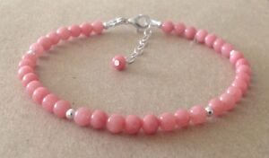 Pink RHODOCHROSITE Gemstone Beads, Sterling Silver, Beaded Friendship Bracelet