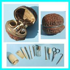 Noix Porte nécessaire couture Dé à coudre Ancien couture brodeuse ciseaux poupée
