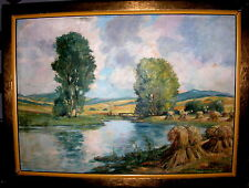 Original Ölgemälde Hans Reifferscheid Koblenz *1902 Kornernte im Rheinland