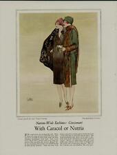 1920's FASHION PAGE AD / WITH CARACUL OR NUTRIA - ARTISTS: JOHN LA GATTA