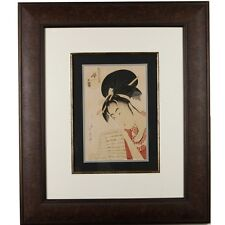 "Kitagawa Utamaro ""The Courtesan Hanazuma Reading a Letter"" Woodblock Print"
