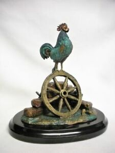 Felipe Chavez Hernandez Painted Bronze Rooster Figurine Sculpture Signed #77/100