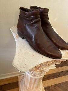 Bally Men's 10.5N Rich Brown Leather Chukka Style Dress Boots Made in Italy Zip