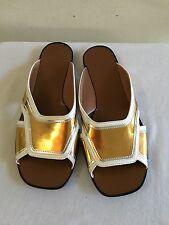 New w/o Box $720 MARNI Metallic Gold Leather Slides Sandals Shoes 39/9
