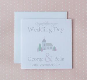 Wedding Day Card Personalised Church Special Couple Friends Son Daughter in law